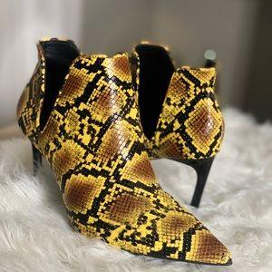 ZARA Women Animal print mid heel ankle bootie